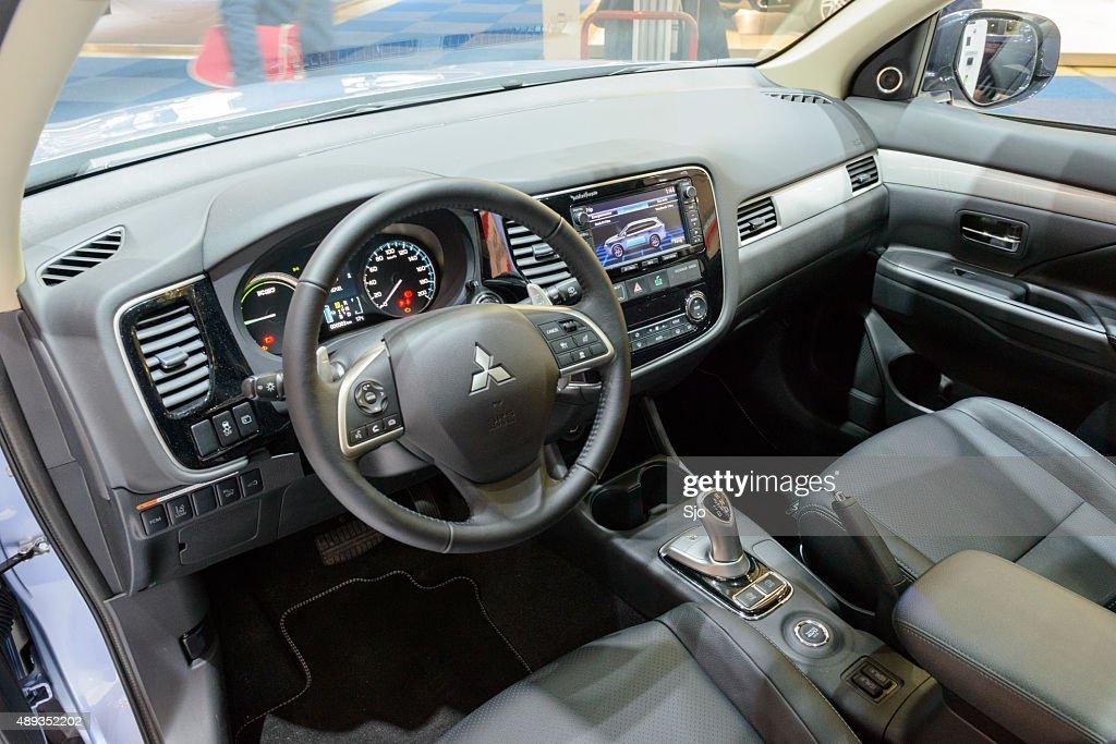 Mitsubishi Outlander Phev Plug In Hybrid Car Interior Stock Photo ...