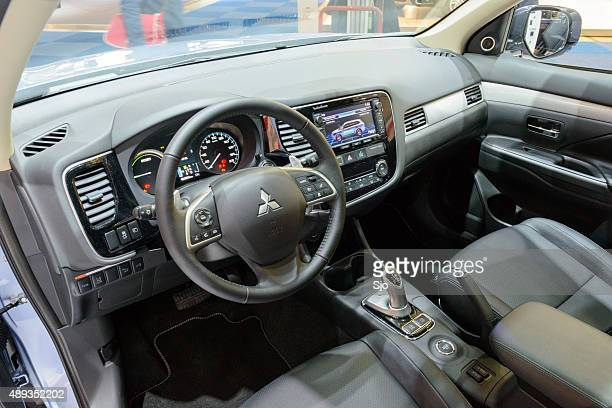 mitsubishi outlander phev plug in hybrid car interior - mitsubishi group stock pictures, royalty-free photos & images