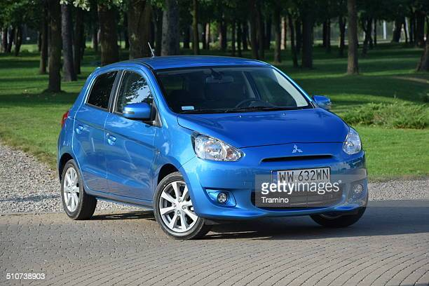 mitsubishi space star at the test drive - mitsubishi group stock pictures, royalty-free photos & images