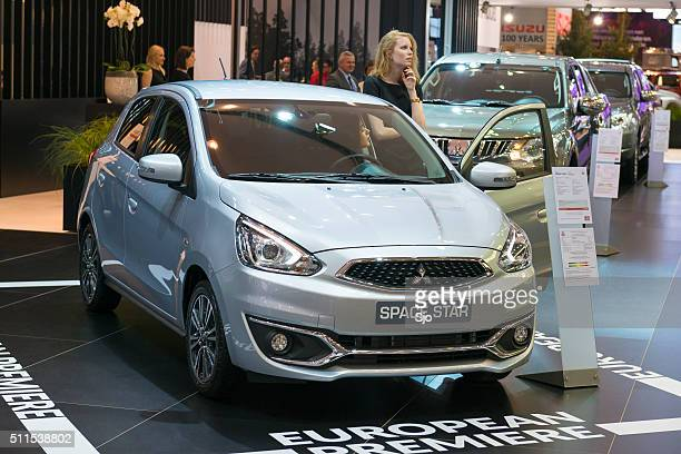 mitsubishi space star compact hatchback car - mitsubishi group stock pictures, royalty-free photos & images