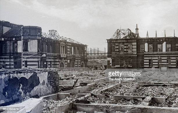 Mitsubishi Steel Nagasaki Steelyard is destroyed by the atomic bomb circa August 1945 in Nagasaki, Japan. The world's first atomic bomb was dropped...