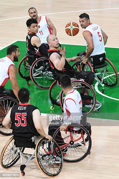 Mitsugu Chiwaki of Japan competes in the Men's Wheelchair Basketball group A preliminary between Turkey and Japan during the Rio 2016 Paralympic...