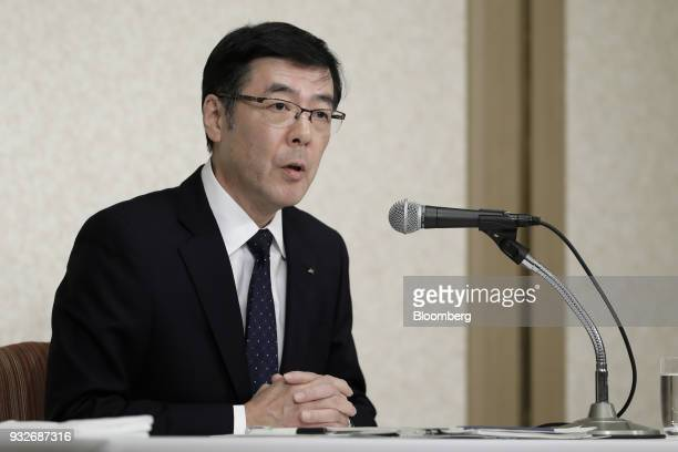 Mitsugu Yamaguchi incoming president and chief executive officer of Kobe Steel Ltd speaks during a news conference in Tokyo Japan on Friday March 16...