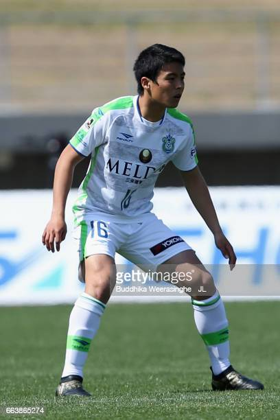 Mitsuki Saito of Shonan Bellmare in action during the JLeague J2 match between Kamatamare Sanuki and Shonan Bellmare at Pikara Stadium on April 2...