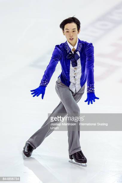 Mitsuki Sumoto of Japan competes in the Junior Men Free Skating during day 3 of the Riga Cup ISU Junior Grand Prix of Figure Skating at Volvo Sports...