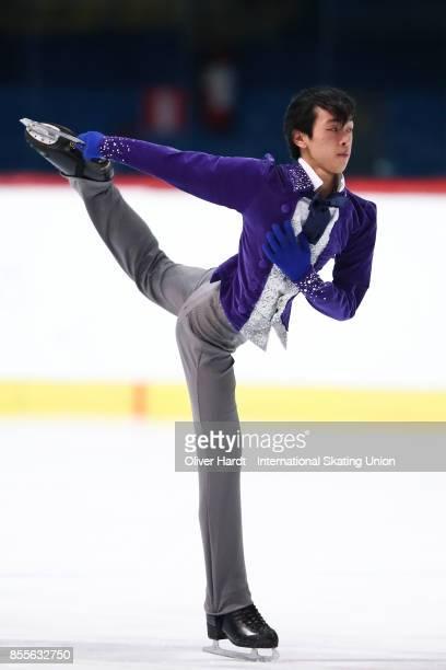 Mitsuki Sumoto of Japan performs in the Junior Men Free Skating Program during day three of the ISU Junior Grand Prix of Figure Skating at Dom...