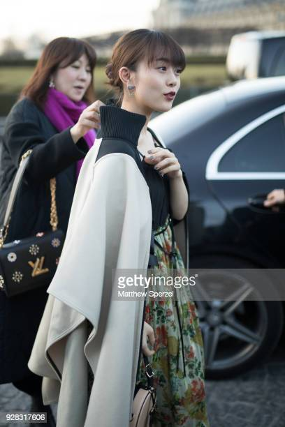 Mitsuki Takahata is seen on the street attending Louis Vuitton during Paris Women's Fashion Week A/W 2018 wearing Louis Vuitton on March 6 2018 in...
