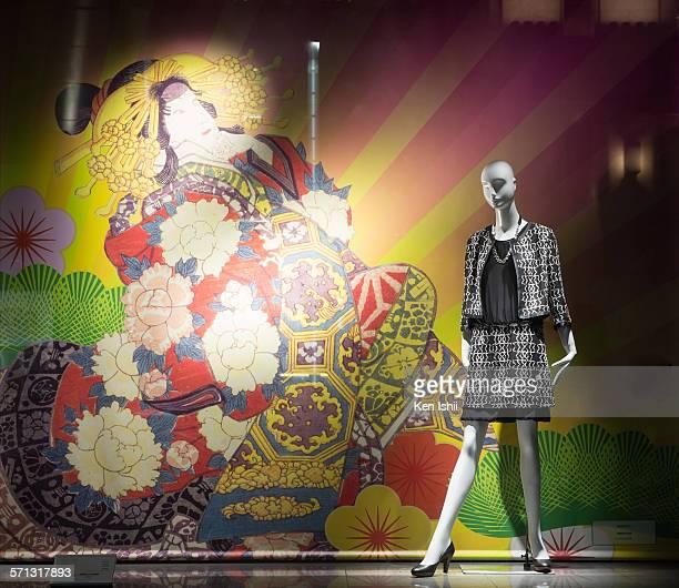 Mitsukoshi - Tokyo, window display 2014 as Part of the World Fashion Window Displays on January 17, 2014 in Tokyo, Japan.