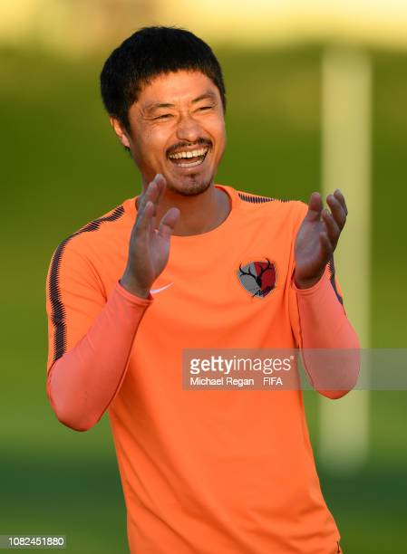 Mitsuo Ogasawara looks on during the Kasima Antlers training session on December 14, 2018 in Al Ain, United Arab Emirates.