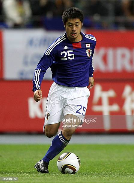 Mitsuo Ogasawara of Japan in action during Kirin Challenge Cup Soccer match between Japan and Venezuela at Kyushu Sekiyu Dome on February 2, 2010 in...