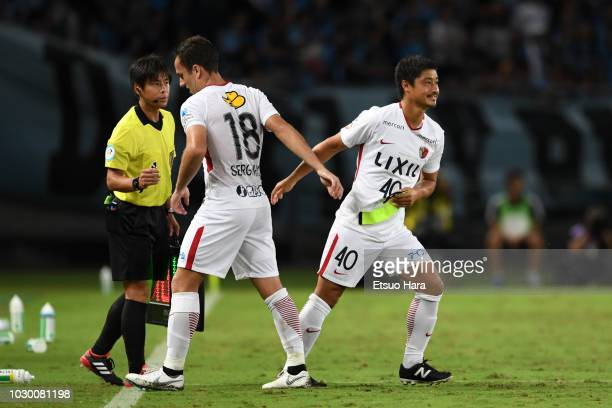 Mitsuo Ogasawara of Kashima Antlers enter the pitch during the JLeague Levain Cup quarter final second leg between Kawasaki Frontale and Kashima...
