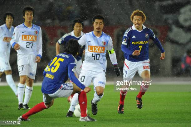 Mitsuo Ogasawara of Kashima Antlers in action during the J.League match between Yokohama F.Marinos and Kashima Antlers at Nissan Stadium on March 31,...