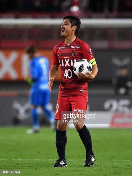 Mitsuo Ogasawara of Kashima Antlers reacts during the JLeague J1 match between Kashima Antlers and Cerezo Osaka at Kashima Soccer Stadium on October...