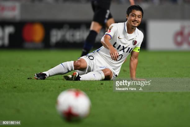 Mitsuo Ogasawara of Kashima Antlers reacts during the JLeague J1 match between Gamba Osaka and Kashima Antlers at Suita City Football Stadium on July...