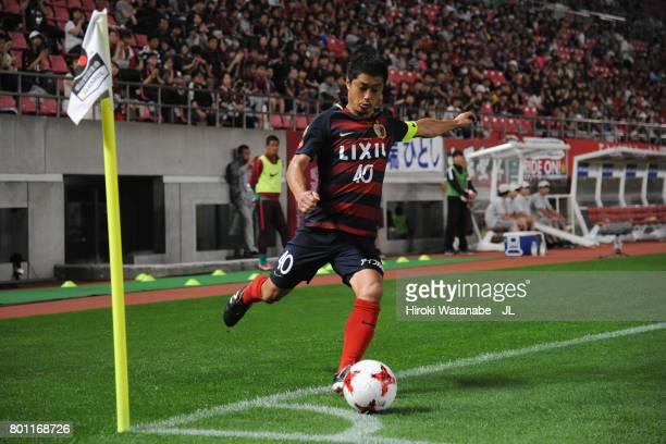 Mitsuo Ogasawara of Kashima Antlers takes a corner kick during the JLeague J1 match between Kashima Antlers and Albirex Niigata at Kashima Soccer...