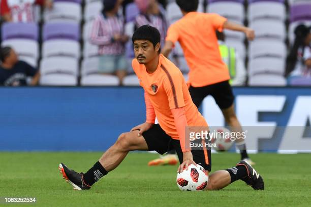 Mitsuo Ogasawara of Kashima Antlers warms up prior to the match between Kashima Antlers and CD Guadalajara on December 15, 2018 in Al Ain, United...