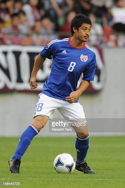 Mitsuo Ogasawara of Tsune Friends in action during the Tsuneyasu Miyamoto Testimonial match at Home's Stadium Kobe on July 16 2012 in Kobe Japan