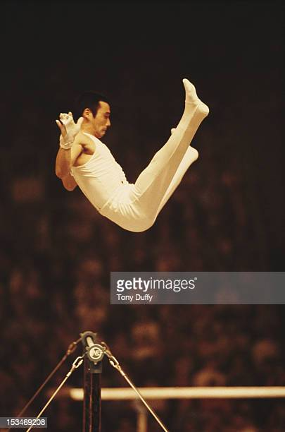 Mitsuo Tsukahara of Japan performs during the Men's Horizontal bar event on 28th October 1978 during the World Artistic Gymnastics Championships in...