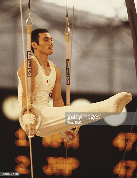Mitsuo Tsukahara of Japan performs during the Men's Rings event on 28th October 1978 during the World Artistic Gymnastics Championships in Strasbourg...