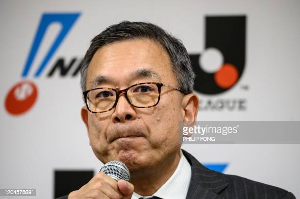 Mitsuru Murai, J-League football chairman, speaks during a press conference to discuss the COVID-19 coronavirus outbreak in Tokyo on March 2, 2020.