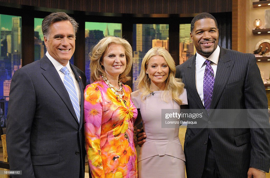 MICHAEL - 9/14/12 - Mitt and Ann Romney appear on the newly-rechristened syndicated talk show, LIVE! with Kelly and Michael,' in an interview that airs TUESDAY, SEPTEMBER 18, 2012. It's their first appearance on a daytime talk show for the 2012 election. MITT