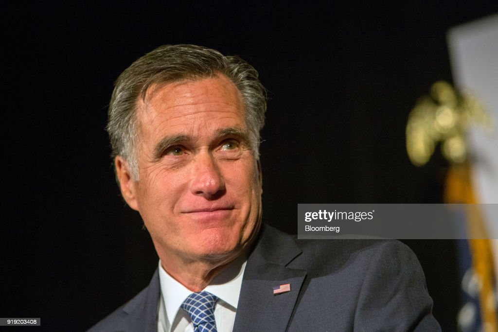 Former Massachusetts Governor Mitt Romney Speaks At Utah County Republican Party Lincoln Day Dinner