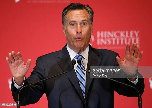 Mitt Romney gives a speech on the state of the Republican party at the Hinckley Institute of Politics on the campus of the University of Utah on...