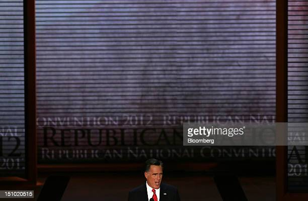 Mitt Romney Republican presidential candidate at the Republican National Convention in Tampa Florida US on Thursday Aug 30 2012 Romney a wealthy...