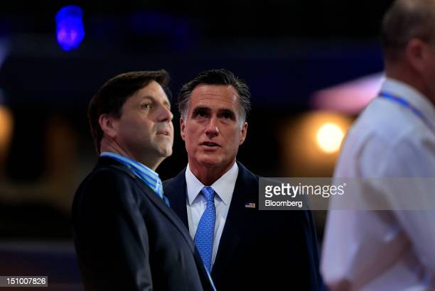 Mitt Romney Republican presidential candidate center stands on stage before a sound check at the Republican National Convention in Tampa Florida US...