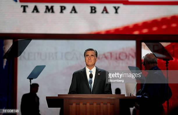 Mitt Romney Republican presidential candidate center stands on stage during a sound check at the Republican National Convention in Tampa Florida US...