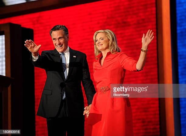 Mitt Romney Republican presidential candidate left and wife Ann Romney wave to delegates at the Republican National Convention in Tampa Florida US on...