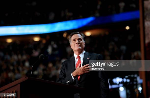 Mitt Romney Republican presidential candidate pauses before speaking at the Republican National Convention in Tampa Florida US on Thursday Aug 30...