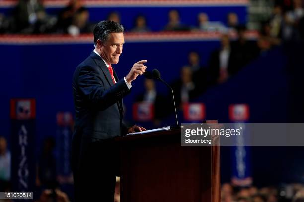 Mitt Romney Republican presidential candidate speaks at the Republican National Convention in Tampa Florida US on Thursday Aug 30 2012 Romney a...