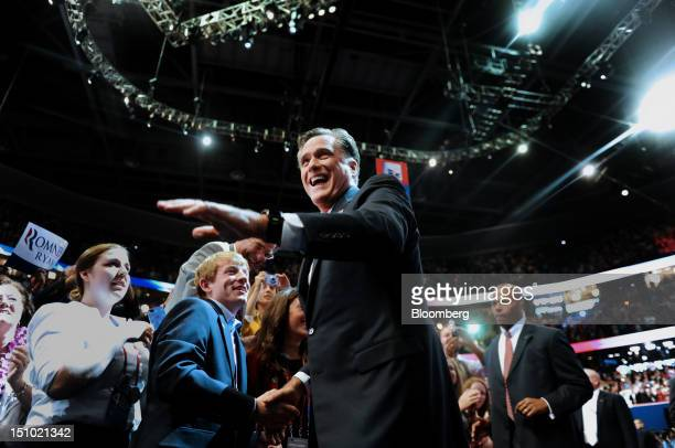Mitt Romney Republican presidential candidate waves while greeting delegates before speaking at the Republican National Convention in Tampa Florida...