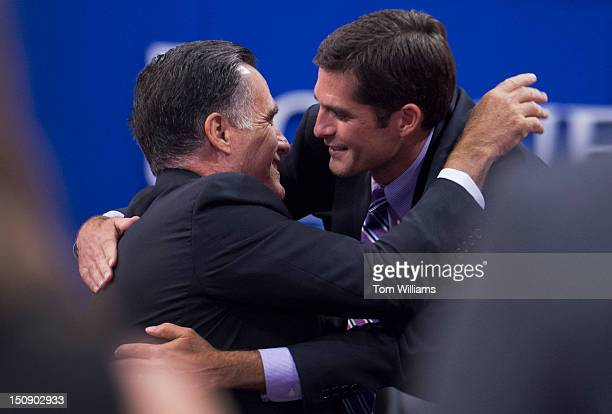 Mitt Romney republican presidential nominee hugs his son Matt after the elder's wife Ann Romney delivered a speech on the floor of the Republican...