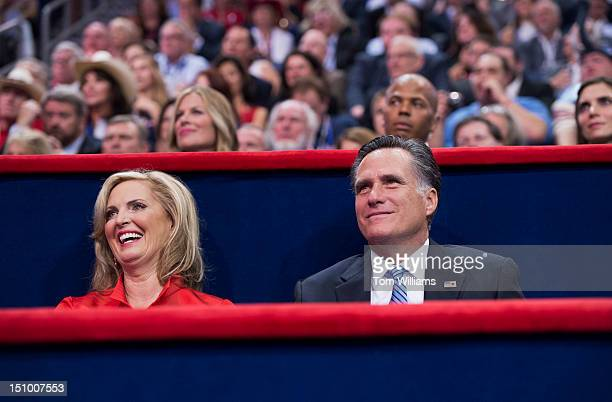 Mitt Romney Republican presidential nominee sits with his wife Ann after she delivered her speech on the floor of the Republican National Convention...