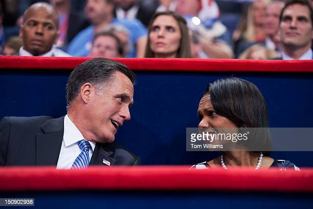 Mitt Romney republican presidential nominee talks with Condoleezza Rice former Secretary of State after Romney's wife Ann delivered a speech on the...