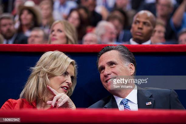 Mitt Romney republican presidential nominee talks with his wife Ann after she delivered a speech on the floor of the Republican National Convention...