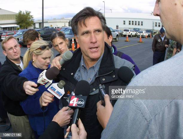 Mitt Romney Salt Lake Olympic Committee president and CEO talks with reporters about 2002 Winter Olympics security at the Utah Air National Guard...