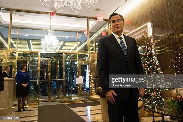 Mitt Romney speaks to reporters after dining with Presidentelect Donald Trump at Jean Georges restaurant November 29 2016 in New York City...
