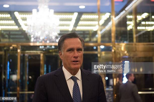 Mitt Romney speaks to the media after meeting with US Presidentelect Donald Trump at Trump International Hotel and Tower Tuesday November 29 2016 in...