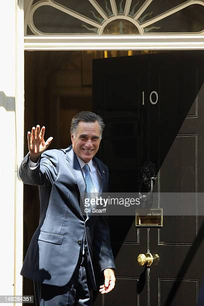 Mitt Romney the Republican nominee for the USA presidential election arrives in Downing Street to meet with British Prime Minister David Cameron on...