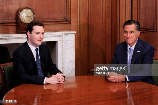 Mitt Romney the Republican nominee for the USA presidential election holds talks with Chancellor George Osbourne in the White Room in 10 Downing...