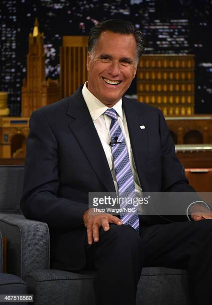 Mitt Romney Visits 'The Tonight Show Starring Jimmy Fallon' at Rockefeller Center on March 25 2015 in New York City