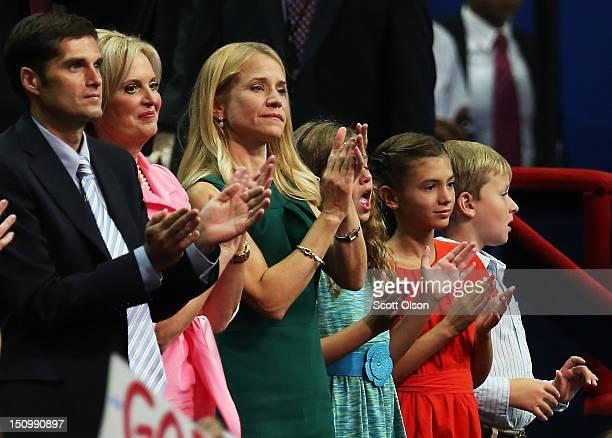 Mitt Romney's son Matt Romney and wife Ann Romney Paul Ryan's wife Janna Ryan daughter Liza Ryan Romney's grandchild Chloe Romney and Ryan's son...