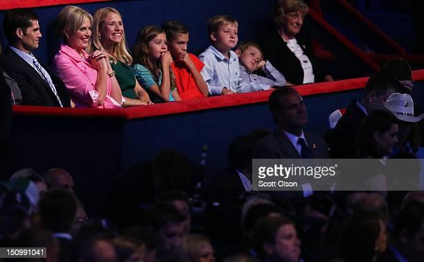Mitt Romney's son Matt Romney and wife Ann Romney Paul Ryan's wife Janna Ryan daughter Liza Ryan Romney's grandchild Chloe Romney Ryan's sons Charlie...
