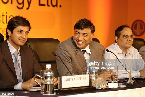 Mittal Chairman and CEO Mittal Steel and Director of ONGC Mittal Energy Ltd with his son Aditya Mittal MS Srinivasan Secretary Ministry of Petroleum...