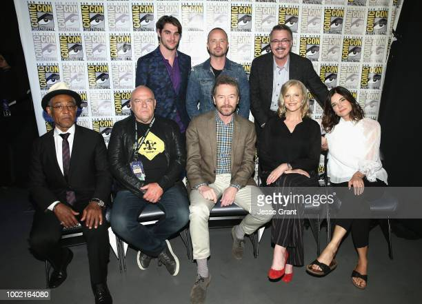 RJ Mitte Aaron Paul and Vince Gilligan Giancarlo Esposito Dean Norris Bryan Cranston Anna Gunn and Betsy Brandt attend the Breaking Bad 10th...