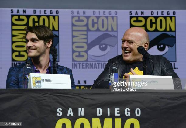 Mitte and Dean Norris speak onstage during the 'Breaking Bad' 10th Anniversary Celebration during ComicCon International 2018 at San Diego Convention...