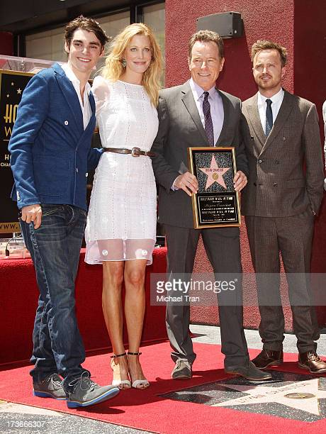 RJ Mitte Anna Gunn Bryan Cranston and Aaron Paul attend the ceremony honoring Bryan Cranston with a Star on The Hollywood Walk of Fame held on July...